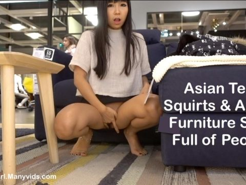 Littlesubgirl - Hot Asian Squirt&Anal in Furniture Store